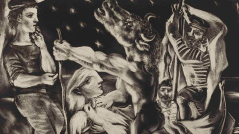 """The British Museum is celebrating after it acquired a complete set of Pablo Picasso's Vollard Suite of etchings, including """"Blind Minotaur led by a little girl in the night."""""""