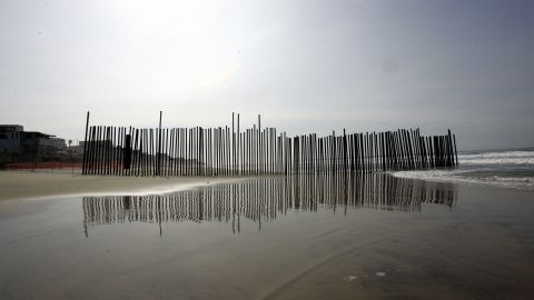 A section of the wall that separates the U.S. with Mexico is seen at Imperial Beach, California in 2006.