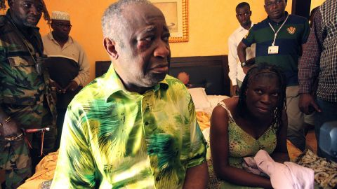 A photo taken on April 11 shows Ivory Coast strongman Laurent Gbagbo and his wife Simone after their arrest.