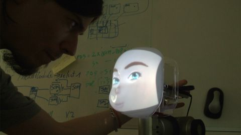 """The """"Concept"""" project is the work of the University of Plymouth, in the UK. Computer-generated responses are projected onto its """"face,"""" which contains cameras and microphones."""