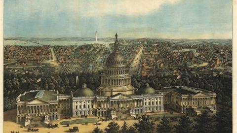 A bird's-eye view of Washington, in an 1871 illustration.