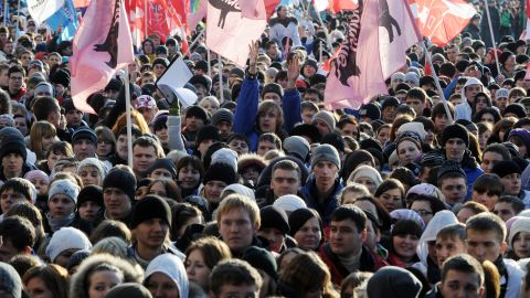 Activists of pro-Kremlin youth movements rally to support the authorities and in response to recent opposition rallies.
