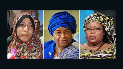 Yemeni activist Tawakkul Karman, Liberian President Ellen Johnson Sirleaf and Liberian activist Leymah Gbowee share this year's Nobel Peace Prize.oll share the prize with Tawakkul Karman, an activist and journalist who this year played a key opposition role in Yemen.