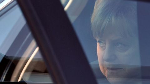 German leader Angela Merkel arrives in France ahead of a crucial meeting later in Brussels billed as make or break for the Euro