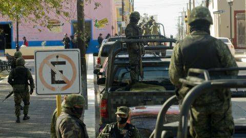 Fighting drug violence, the Mexican Army patrols Ciudad Mier, Tamaulipas State, Mexico on December 8, 2011.