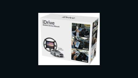 The iDrive, a steering-wheel mount for gadgets, is one of the Prank Pack's fake offerings.