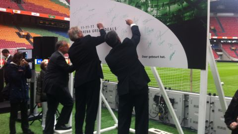 """It has a deal to install its """"sugar seats"""" at Amsterdam ArenA, home of Ajax football club. Dignitaries signed up at 11 a.m. on November 11, 2011 -- which was Sustainability Day in the Netherlands."""