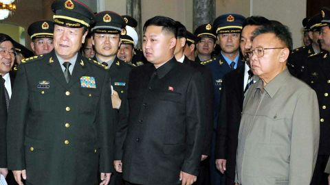 This file photo released by North Korea's official Korean Central News Agency (KCNA) on October 26, 2010 shows North Korean leader Kim Jong-Il (R) and his son Kim Jong-Un (C) meeting with a group of Chinese officers, led by Guo Boxiong (L), vice chairman of China's Central Military Commission, during a visit to Pyongyang on October 25, 2010