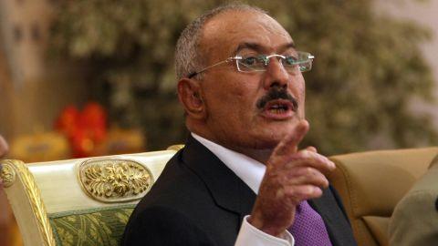 Former Yemeni President Ali Abdullah Saleh speaks on December 24, 2011, in the capital Sanaa.