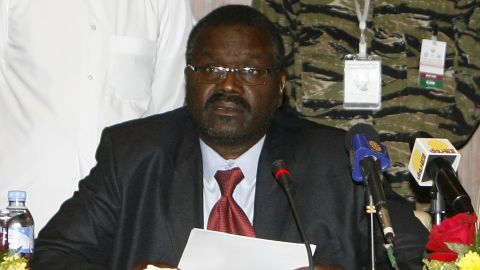 The leader of the Sudanese rebel group JEM, Khalil Ibrahim, is pictured in Doha in 2010.