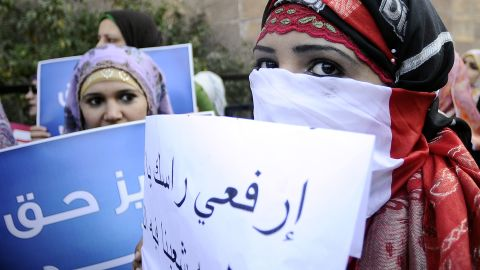 Egyptian women protest against the military council violations and virginity tests on women, in Cairo on December 27, 2011.