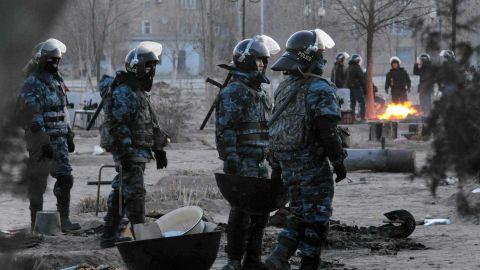 Riot police patrol in the town of Zhanaozen in Kazakhstan on December 18, 2011.
