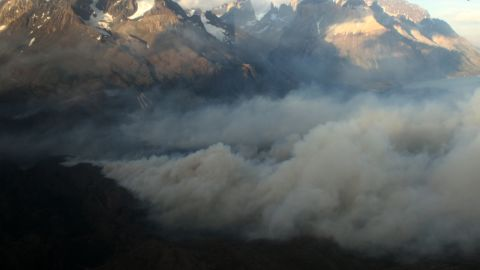 Smoke billows from a fire raging in the Torres del Paine National Park in southern Chile last week.