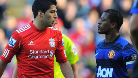 Liverpool striker Luis Suarez was handed an eight-match ban by the English Football Association for racially abusing Manchester United's Patrice Evra in a match in October 2011. Suarez refused to shake Evra's hand during the customary pre-match ritual ahead of the teams' clash on February 12 this year. The Uruguayan has since apologized for his snub of the France defender.