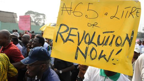 On January 3, 2012, union and civil rights activists marched in Lagos, Nigeria, to protest the removal of petrol subsidies by the government.