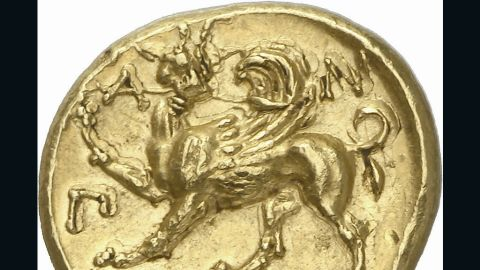 """Hill says the coin, which also features the figure of a winged griffin, is """"one of the masterpieces of ancient Greek art."""" The entire collection is expected to sell for $8m."""