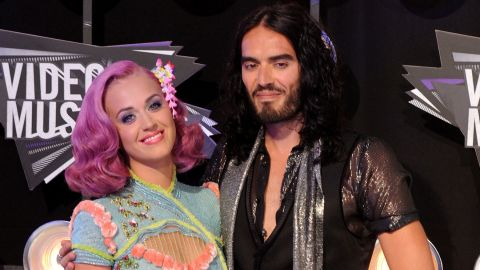 Katy Perry and Russell Brand attend the MTV Video Music Awards in Los Angeles on August 28, 2011.