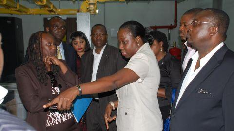 Former U.S. ambassador Robin Sanders (left) visits the Main One Cable landing station in Lagos.