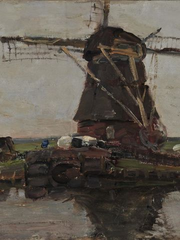"""""""Landscape with a Mill"""" (1905), by Dutch artist Piet Mondrian, was also taken in the raid. The thief tried to make off with another Mondrian work, but dropped it while trying to make his escape."""