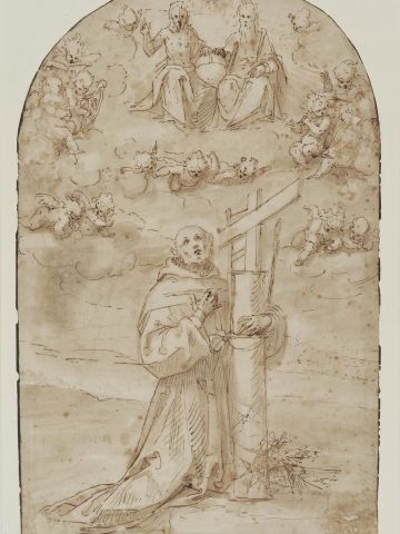 """The thief, or thieves, also stole a pen-and-ink sketch, """"San Diego de Alcala in ecstasy,"""" by Renaissance artist Guglielmo Caccia, who was known as il Moncalvo."""