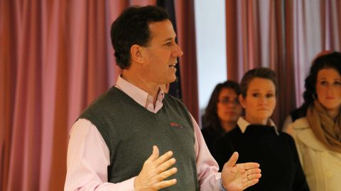 Rick Santorum town hall meeting in Salem, NH--he is accompanied by his wife Karen and daughter elizabeth and his son. This was at a local Elks club.