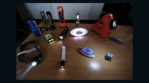 A selection of solar-powered LED lamps on the market