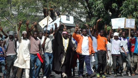 These protesters, carried a mock coffin for the president on January 10, 2012.
