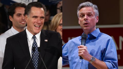 Split image of Mitt Romney and Jon Hunstman.