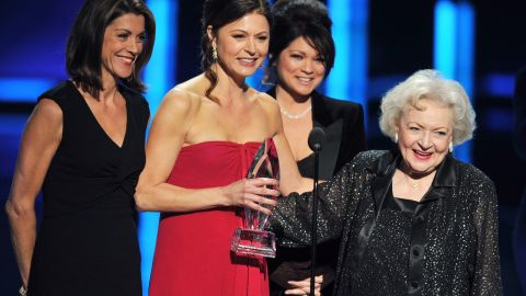 """On stage with her costars from """"Hot in Cleveland,"""" Betty White told the crowd, """"I haven't done anything."""""""