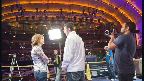 Tim Tebow talks with ESPN's Suzy Kolber at Radio City Music Hall before the NFL Draft in April 2010.