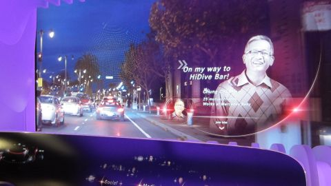 Mercedes showcases a prototype of an augmented reality, gesture-controlled networking system at CES.