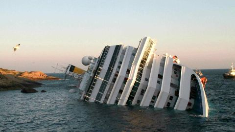 A photograph taken early on January 14, 2012 of the Costa Concordia after the cruise ship with more than 4,000 people on board ran aground and keeled over off the Isola del Giglio, and Italian island, last night.