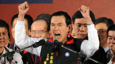 President Ma Ying-jeou outside his campaign headquarters in Taipei, Taiwan on January 14.