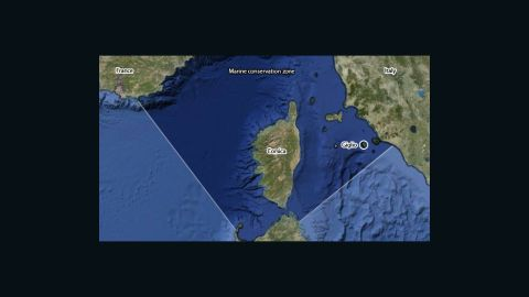 The cruiser grounded at Giglio, inside the Pelagos Sanctuary for Mediterranean Marine Mammals. (Source: Cetacean Habitat)