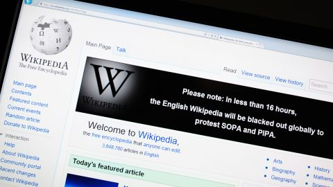 The online encyclopedia Wikipedia is viewed on January 17, 2012 in Washington, DC. Free online knowledge site Wikipedia will shut down for 24 hours beginning at midnight eastern standard time in protest at draft anti-online piracy legislation before the US Congress, founder Jimmy Wales said Monday on Twitter.