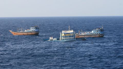 Two Iranian boats continue their voyage after USS Dewey provided the distressed mariners with food, water and medical supplies.