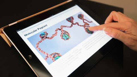 Apple's new iBooks 2 app is demonstrated for the media at the Guggenheim Museum on January 19.