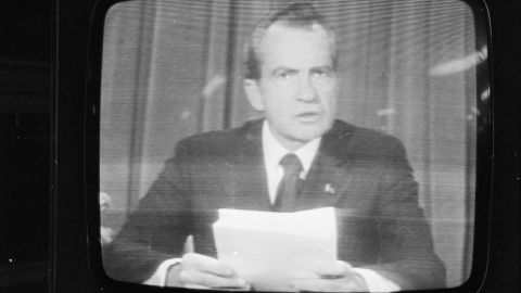 President Richard Nixon announces his resignation in 1974, following the Watergate scandal.