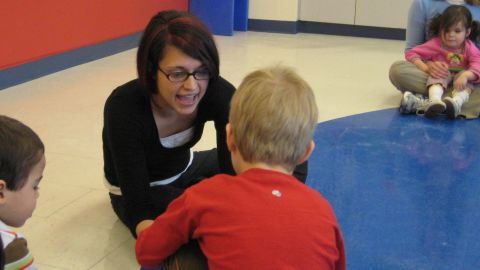 Stefanie Waldrop teaches children at the Marcus Autism Center in Atlanta, Georgia, on March 5, 2009. The center works with children who have developmental disabilities.