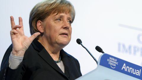 German Chancellor Angela Merkel addresses the World Economic Forum in Davos