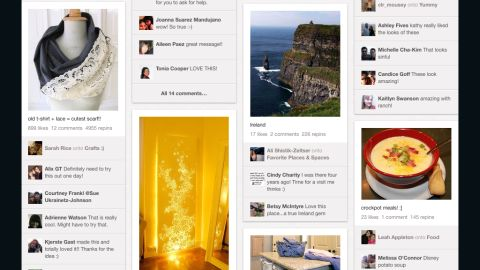 """Pinterest lets users """"pin"""" items they like to virtual boards."""