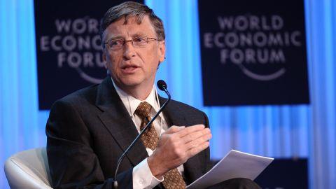 Microsoft founder Bill Gates speaks Thursday at the World Economic Forum in the Swiss resort of Davos.