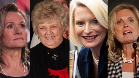 Split screen of GOP candidate's wives.