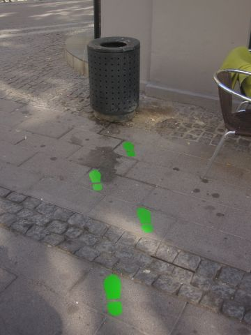 Green footsteps lead passersby to a dustbin on the streets of Copenhagen. Researchers found that this decreased the instances of littering by 46%.