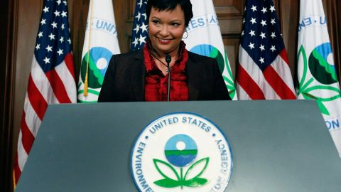 EPA Administrator Lisa P. Jackson speaks during a news conference on greenhouse gases at the Environmental Protection Agency headquarters on December 7, 2009