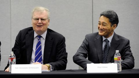 Chairman, CEO and President of Sony Corp. Sir Howard Stringer (L) and Sony Corp. Executive Deputy President Kazuo Hirai attend a Sony press event in January.