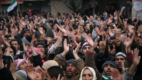 Opposition supporters in Zabadani, Syria on Sunday, January 15, 2012