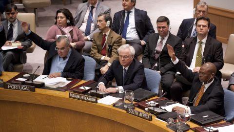 Russia's U.N. Ambassador Vitaly Churkin cast a veto against a resolution on Syria in the U.N. Security Council on Saturday.