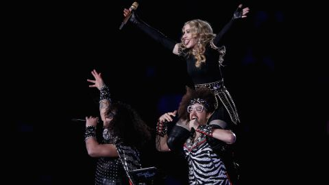 """Madonna performs with Redfoo and Sky Blu of LMFAO, the twosome behind the chart-topping single """"Sexy and I Know It."""""""