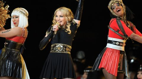 Nicki Minaj, left,  Madonna and M.I.A. perform during halftime of Super Bowl XLVI.
